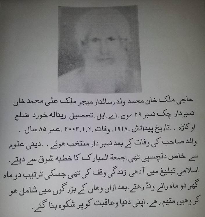 Haji Khan Muhammad Late - Okara