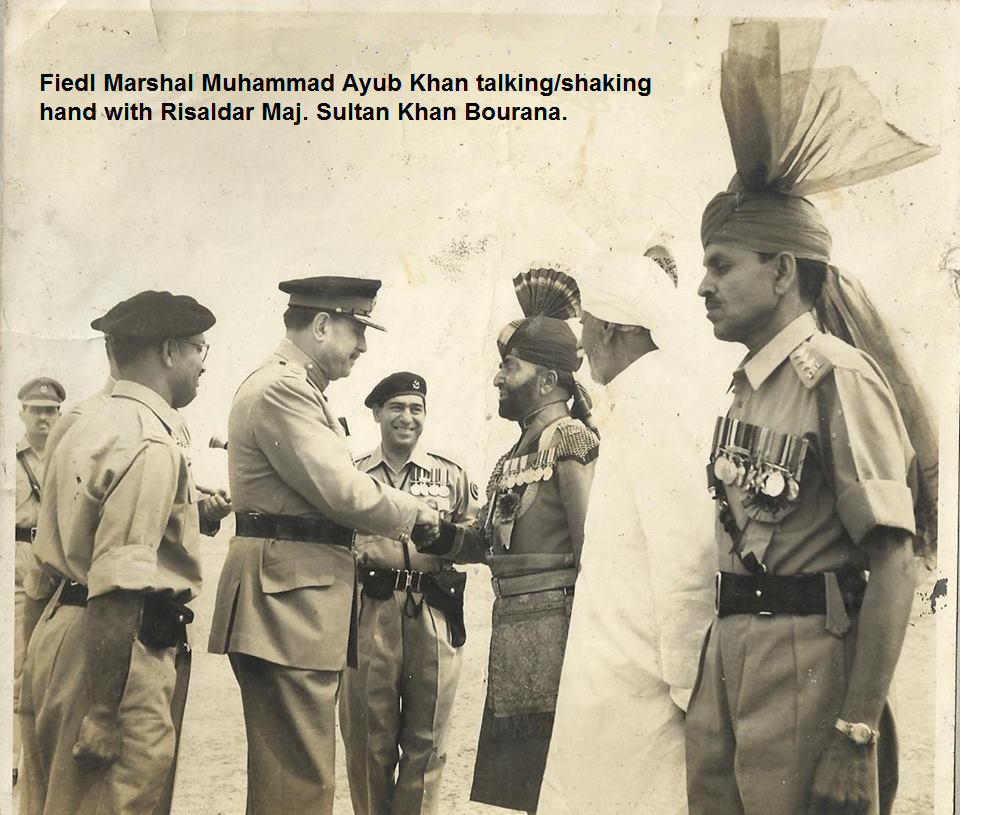 Field Marshal Muhammad Ayub Khan talking/shaking hand with Risaldar Major Sultan Khan Bourana Photo Credit: Ali Haider